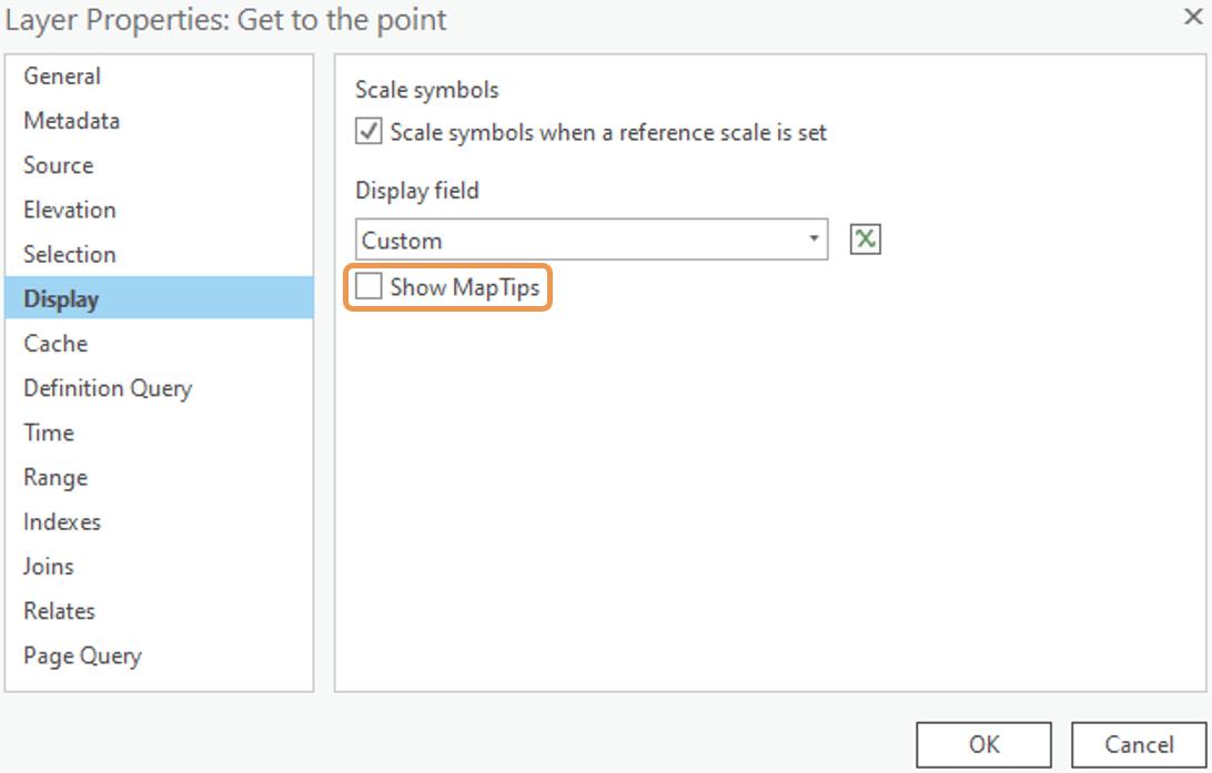 Layer properties > Display tab show maptips under Display field