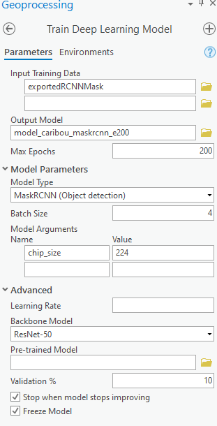 Train Deep Learning Model tool with parameters