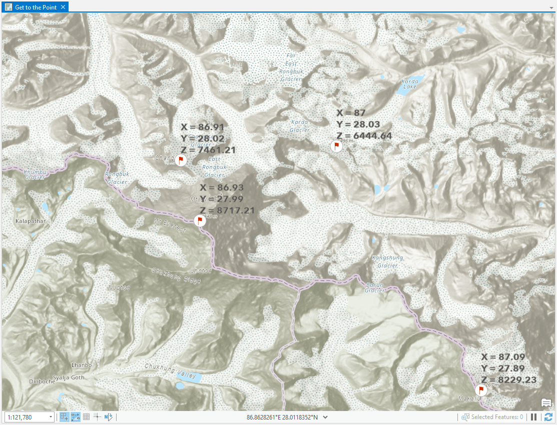 Himalayan peaks labeled with their x,y,z values