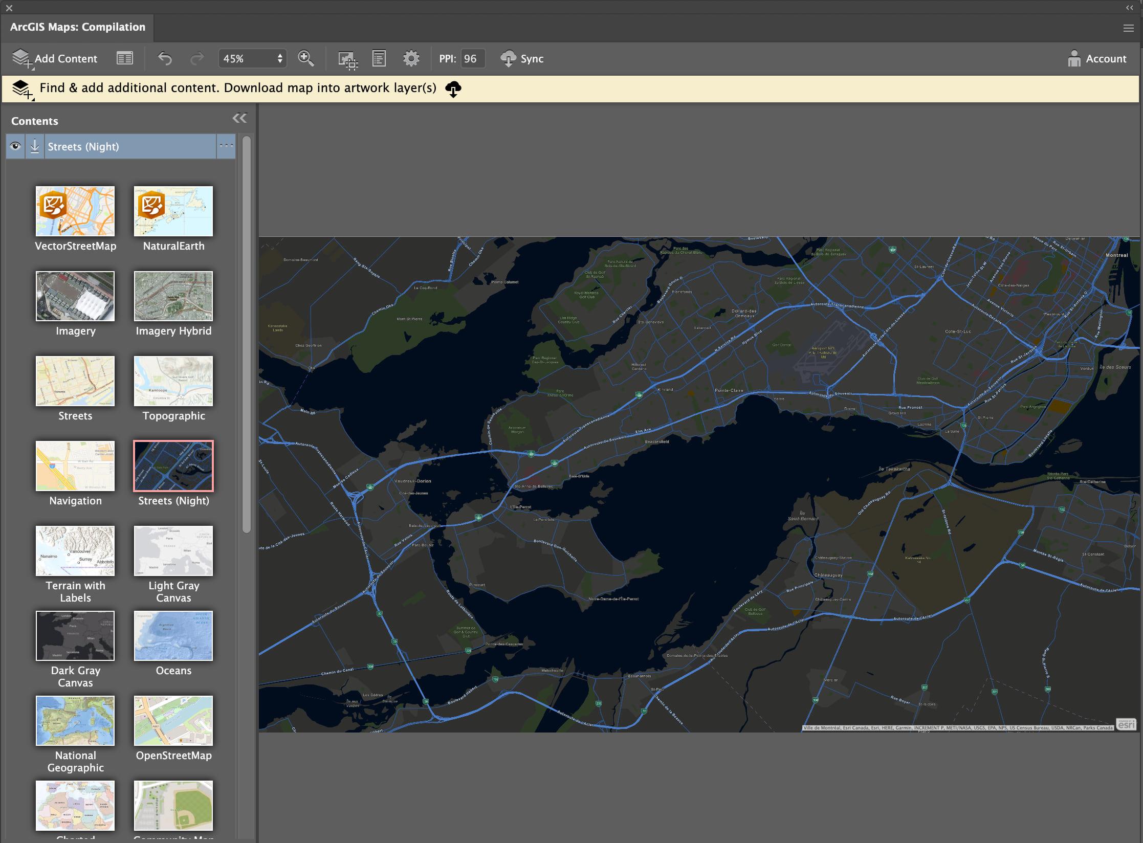 Choose from a range of vector basemaps