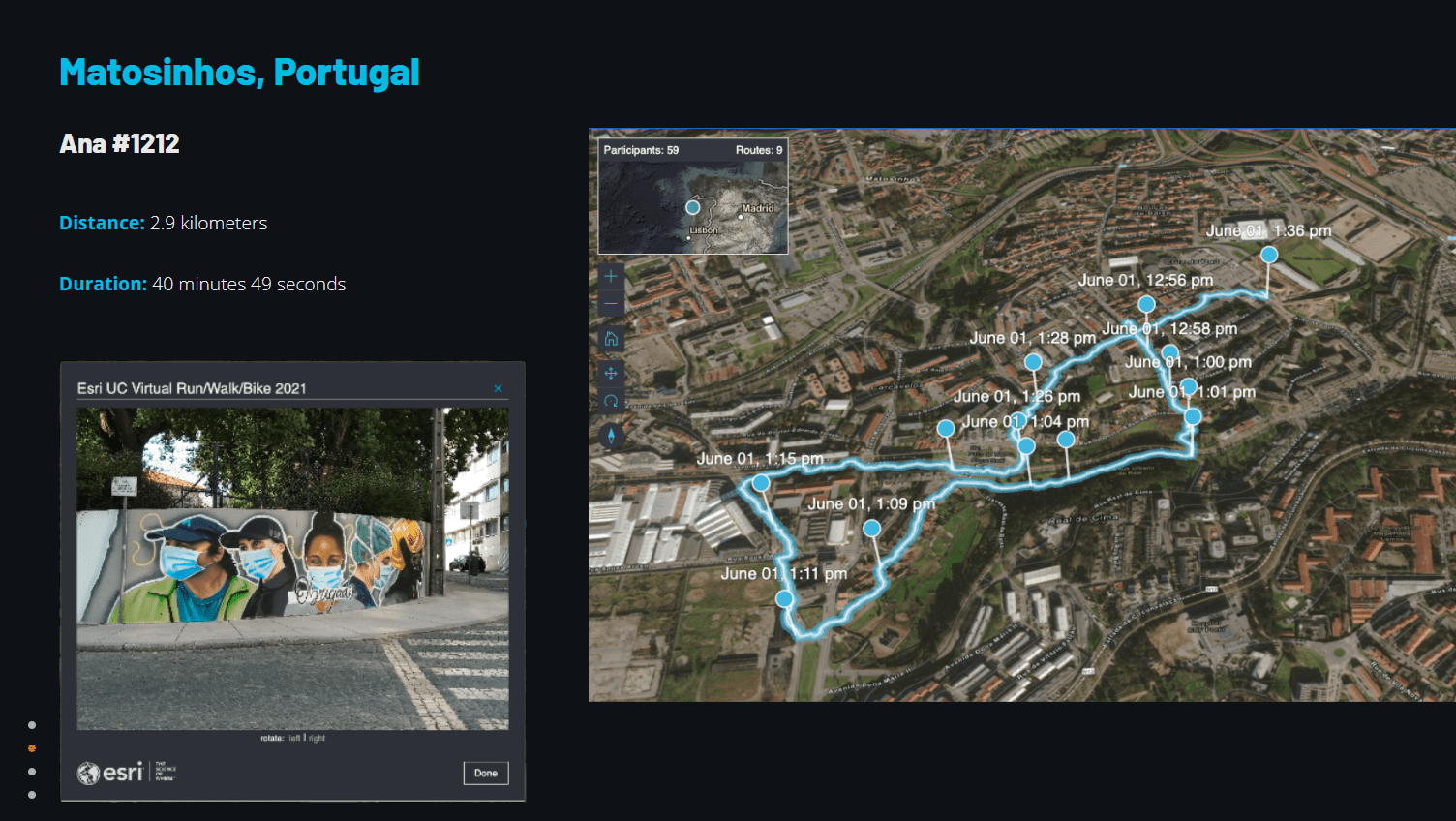 Photo and map showing distance, duration, and route of Ana's run