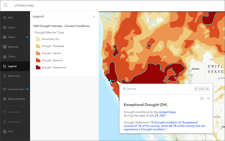 Current drought conditions map