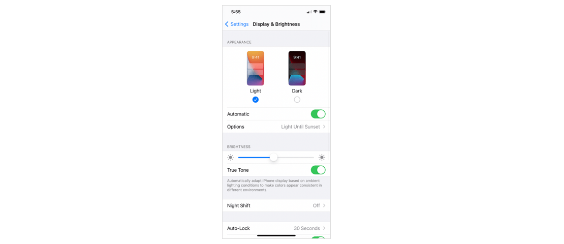 Display & Brightness settings on iOS device