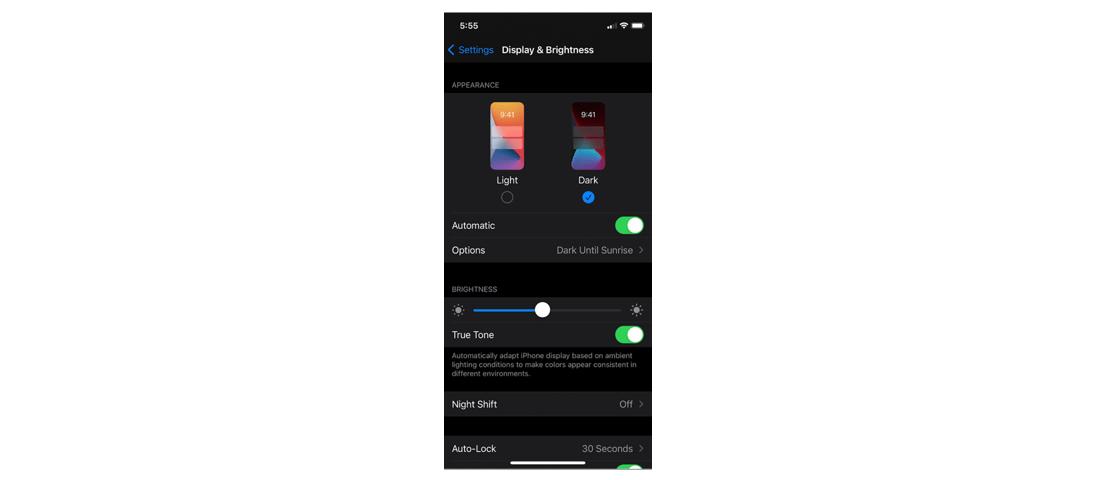 Dark mode on iOS device