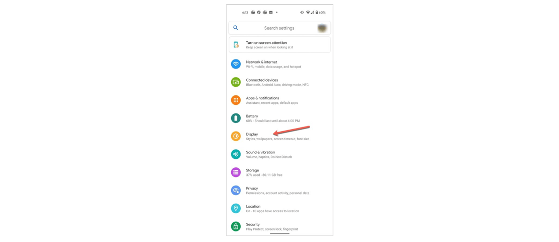 Settings page on Android device