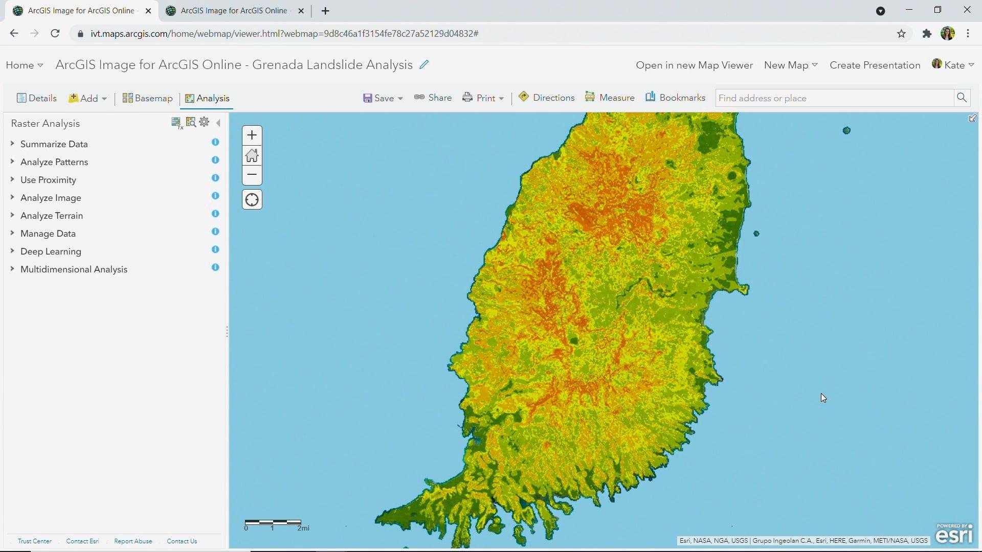 Landslide susceptibility map created using raster analytics