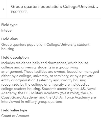 Field description contains a few sentences to define student housing. These facilities are owned, leased, or managed by a college, university, or seminary, or by a private entity...Fraternity and sorority housing recognized by the college or university are included...students at military academies are in military group quarters...etc.