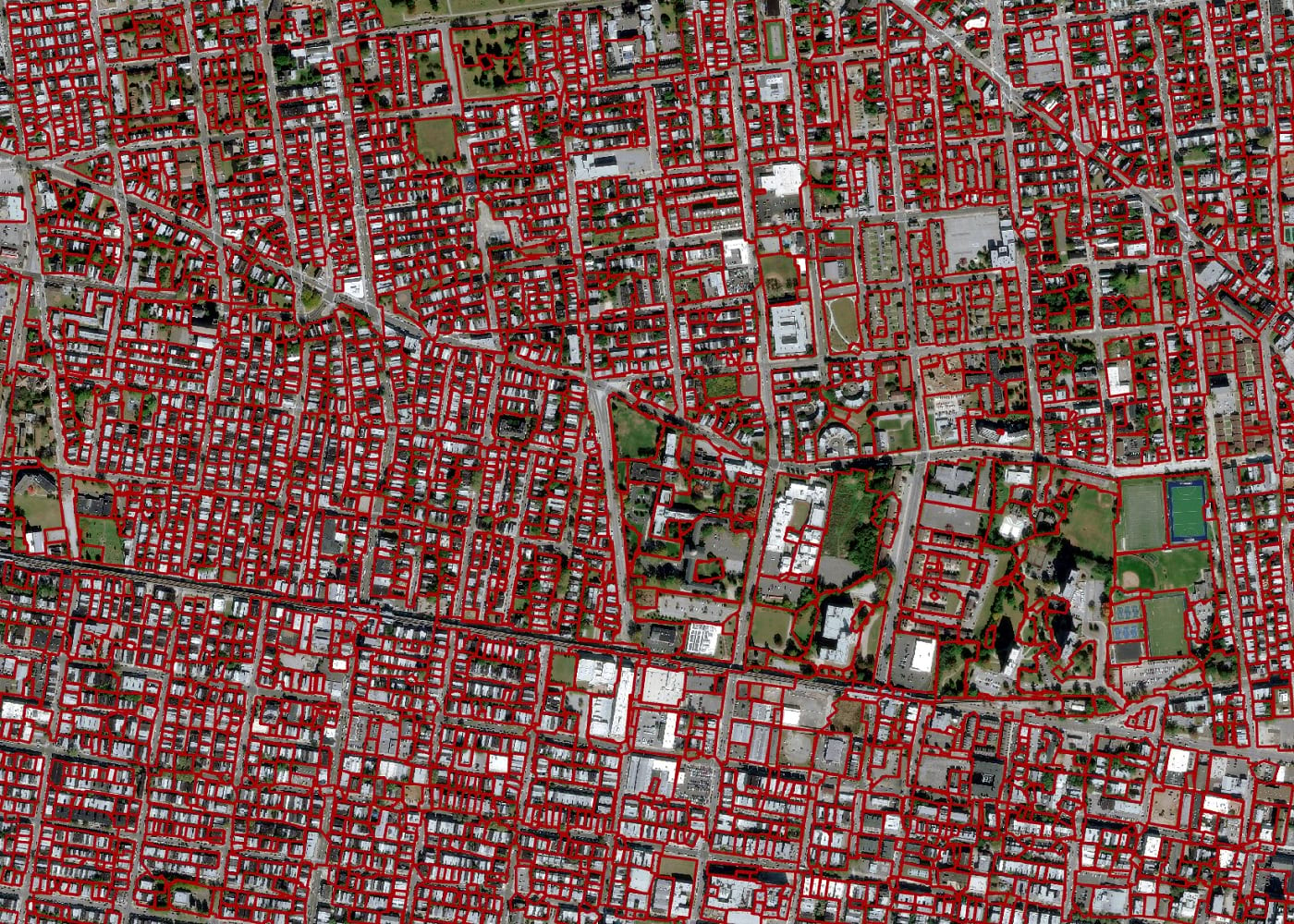 Residential parcels extracted using the pre-trained model
