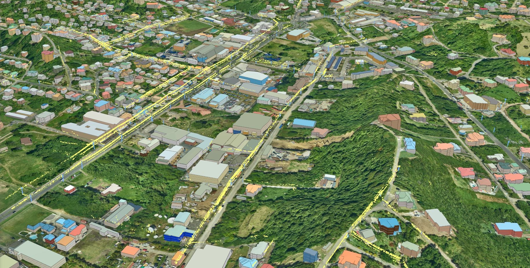 Electric poles and power lines classified using pre-trained point cloud classification model