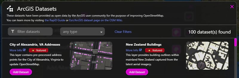ArcGIS Datasets in RapiD