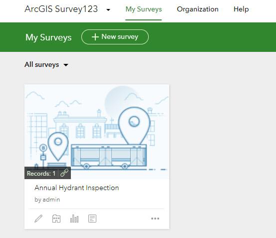 Survey123 Hydrant Survey Home Screen
