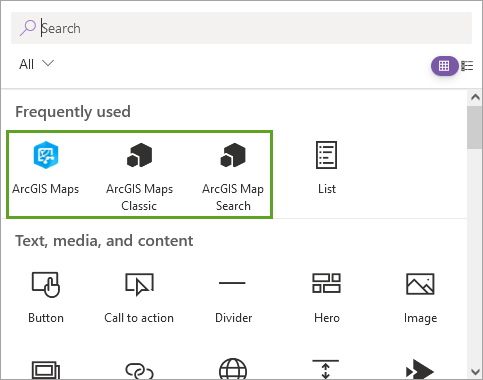 ArcGIS Maps, ArcGIS Maps Classic, and ArcGIS Map Search buttons