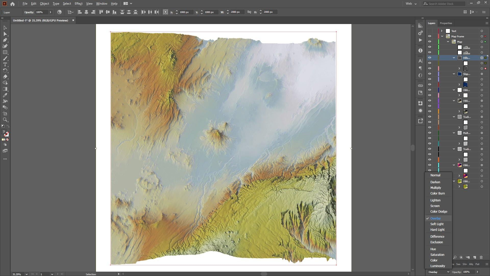 Plan Oblique terrain map in Illustrator.