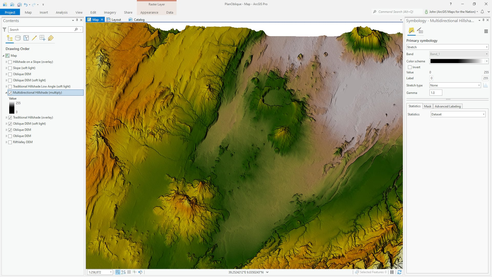 Multidirectional hillshade with a multiply blend mode.