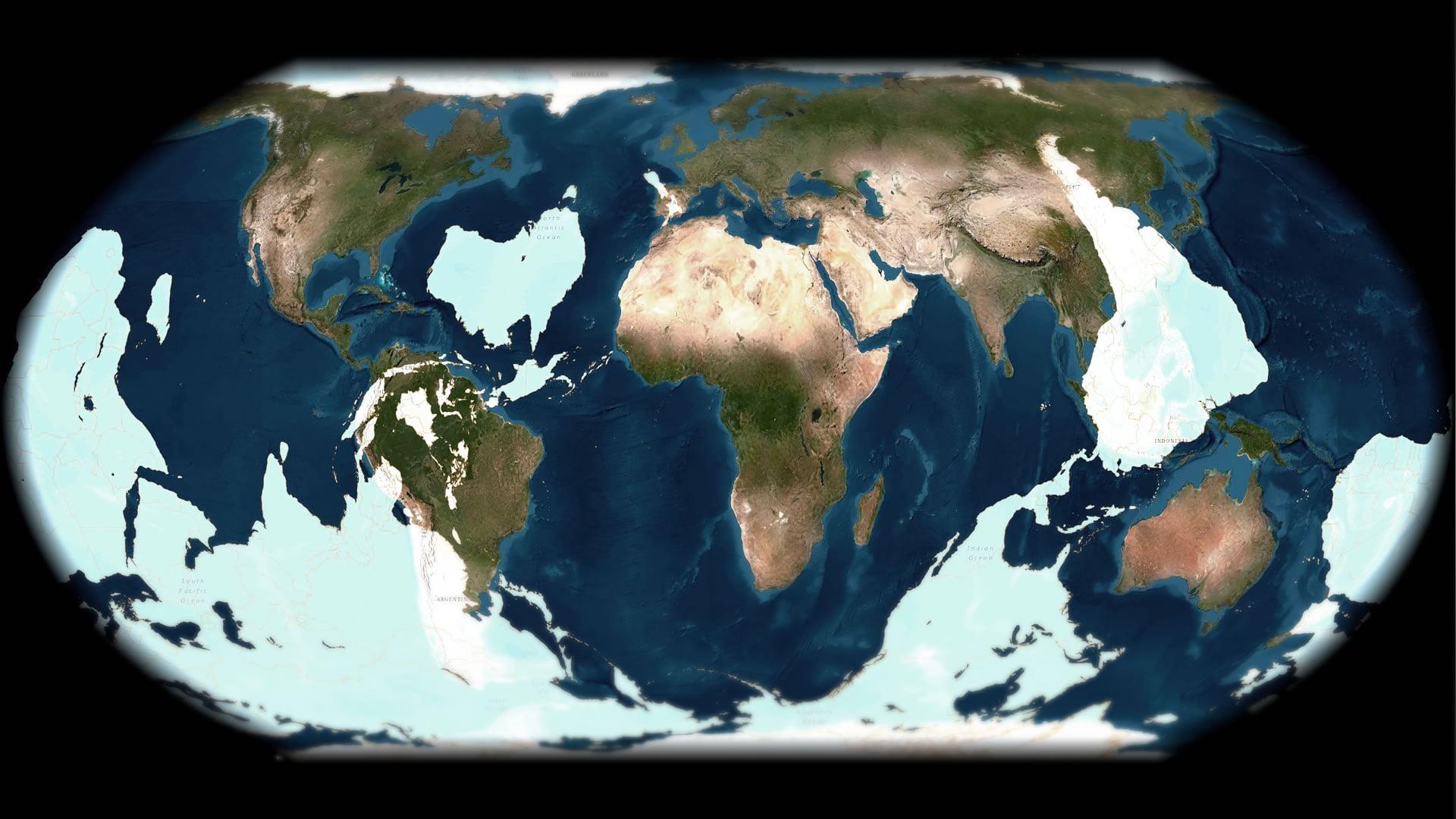 An antipode world map.
