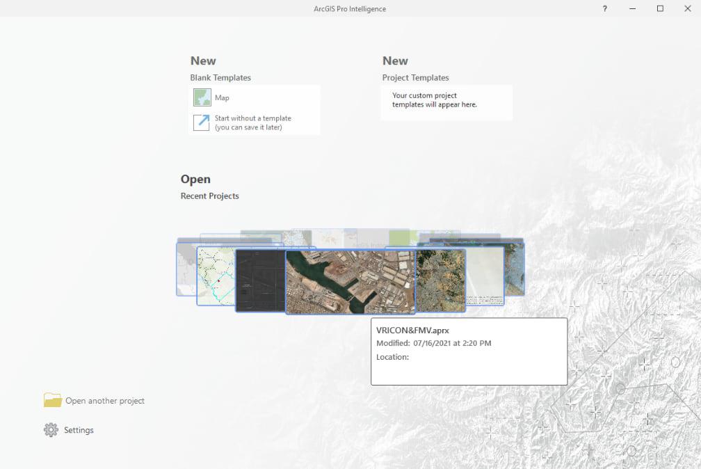 Open projects in ArcGIS Pro Intelligence