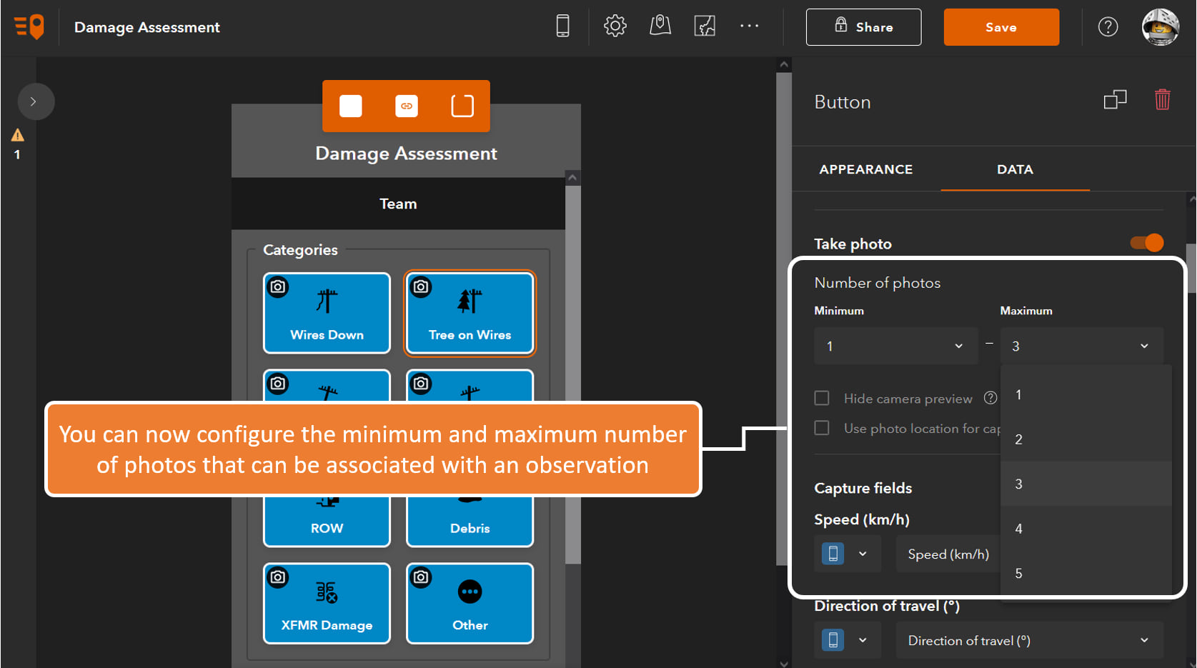 QuickCapture designer: You can now configure the minimum and maximum number of photos that can be associated with an observation