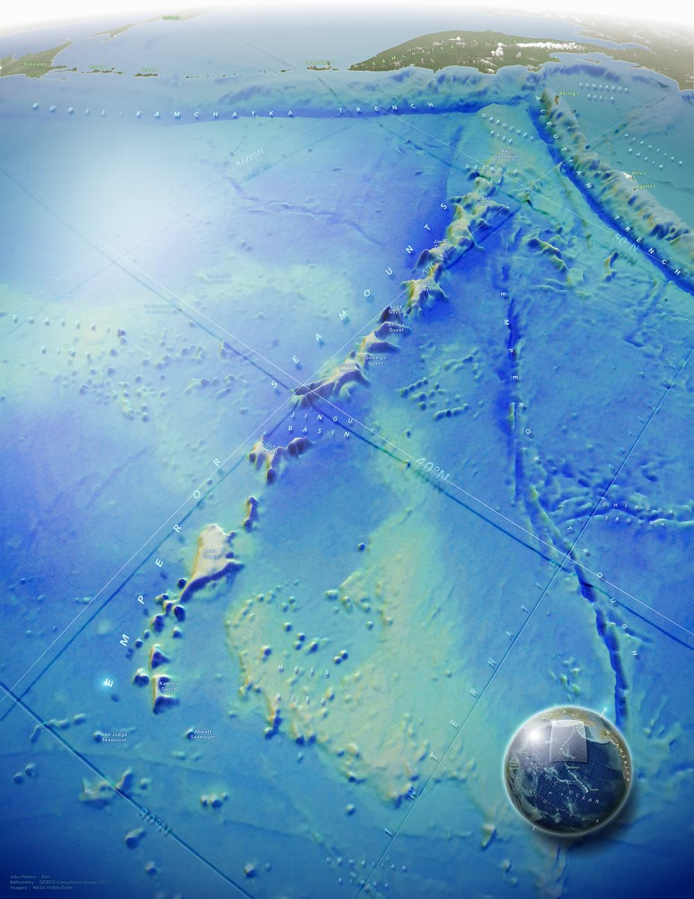 Map of the Emperor Seamounts in the northern Pacific ocean.