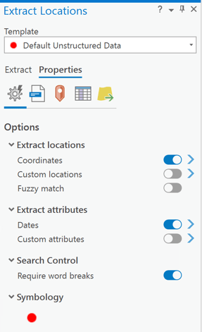 Extract Locations Properties pane overview