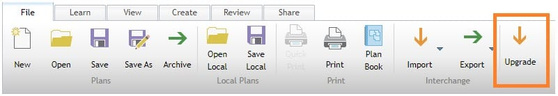 Upgrade button on File ribbon