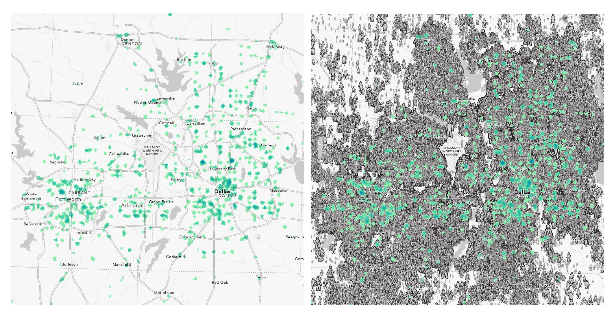 Dallas/Fort Worth showing few walking options to an area with massive population.