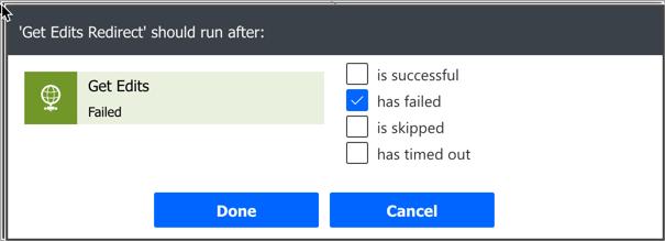 Run when previous request failed