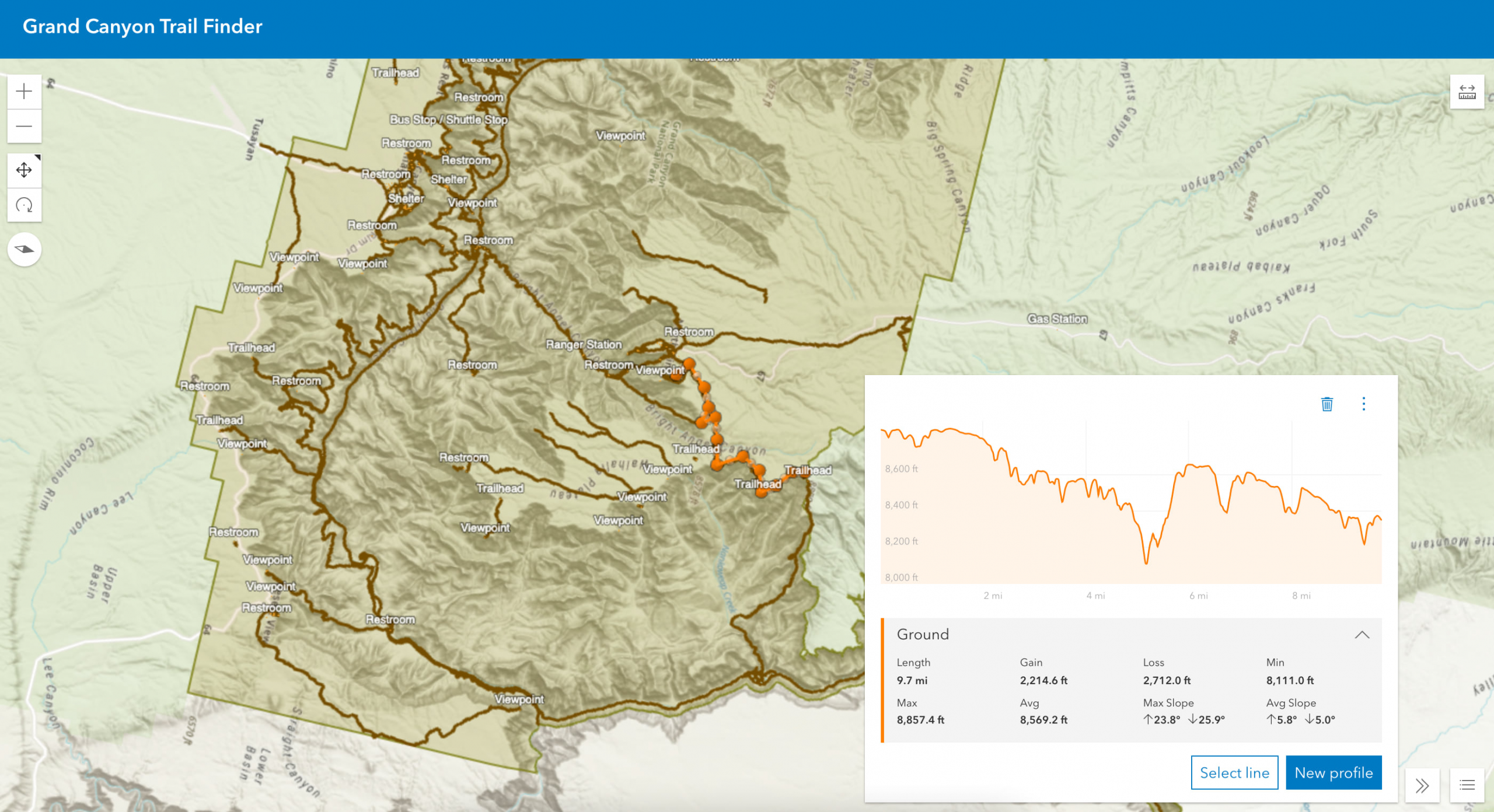 A 3D Viewer App of the Grand Canyon with an elevation profile for a trail