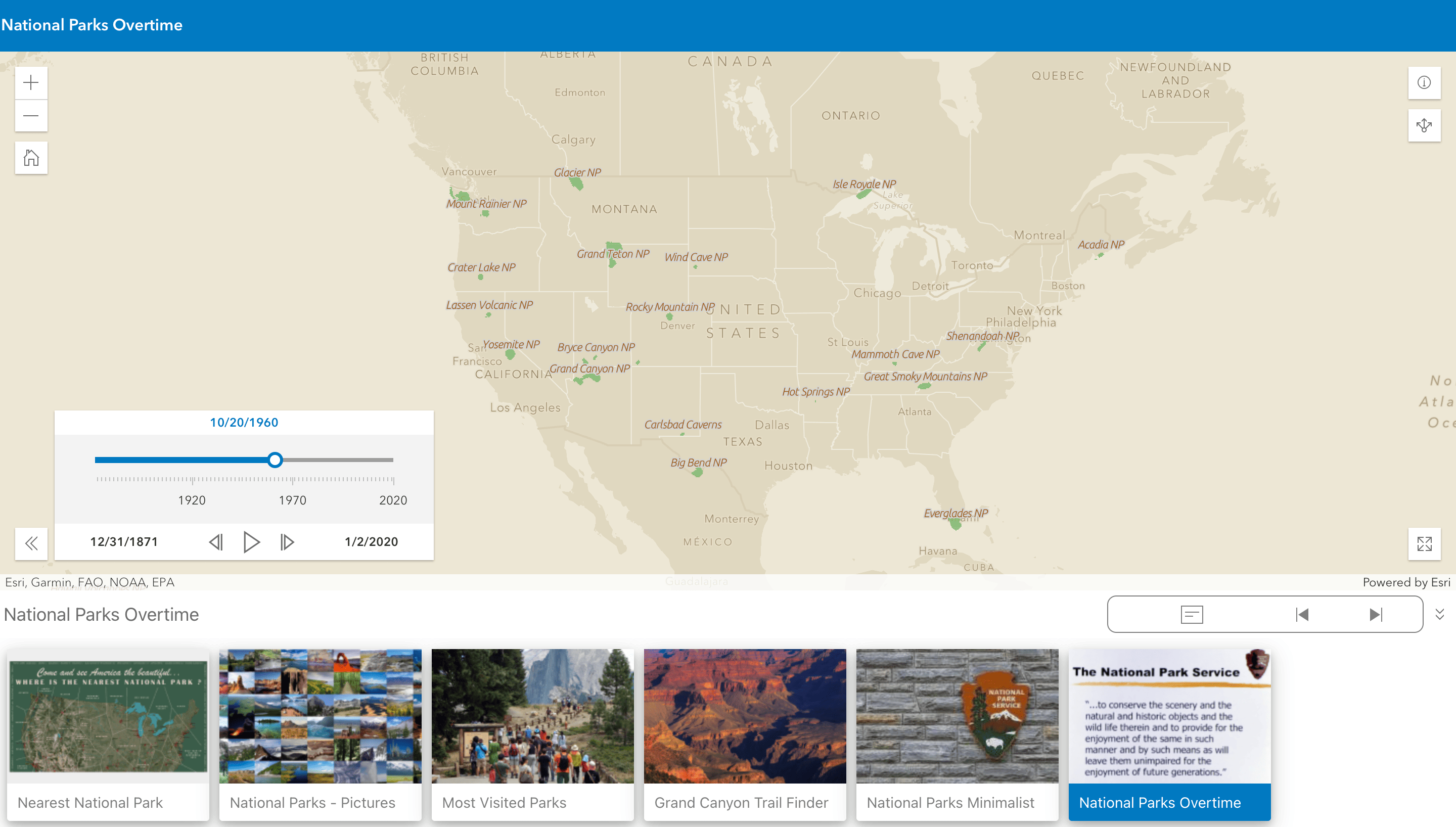 A Portfolio Instant App opened to the Media Map section that highlights the number of National Parks in 1960
