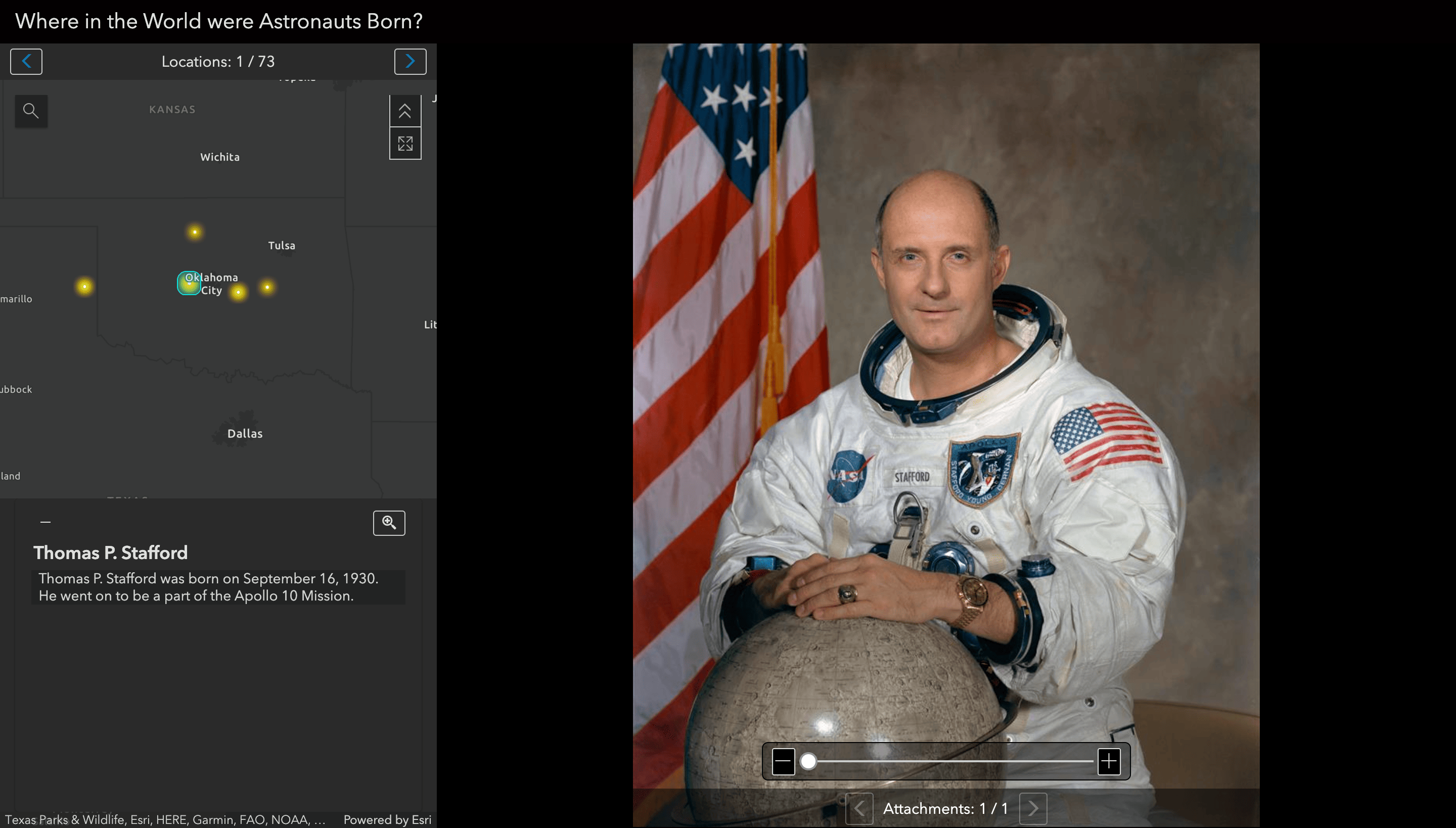 A Attachment Viewer Instant App opened to Astronaut Thomas Stafford and his birthplace