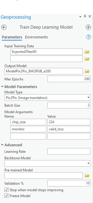 Train Deep Learning Model tool