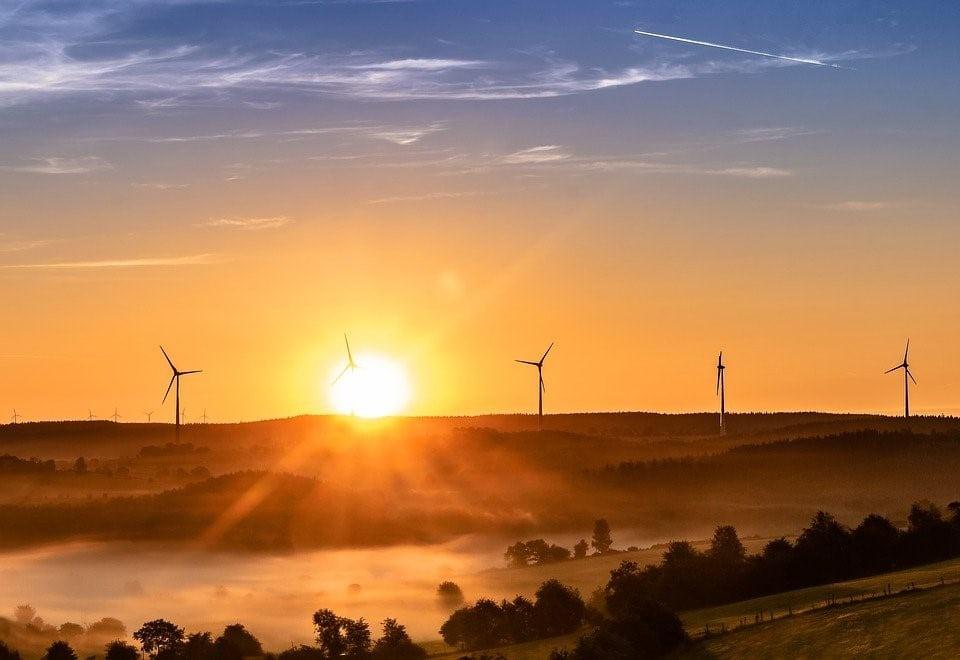 Windmills on a rolling hillside