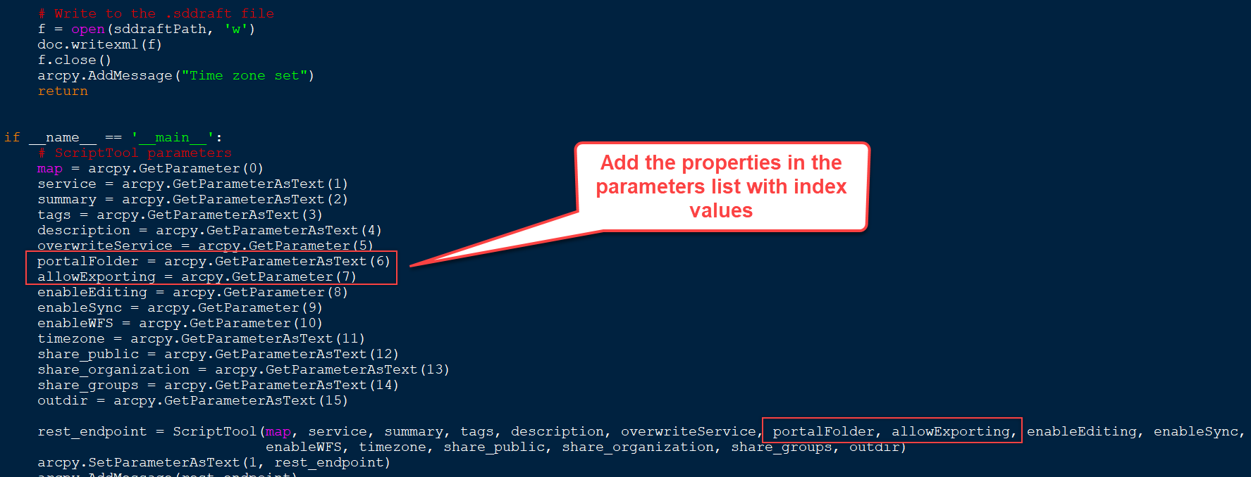 Modify the Python file to include portal and export properties