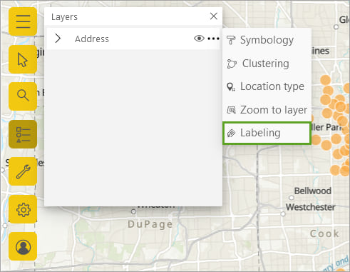 Layer context menu with Labeling highlighted
