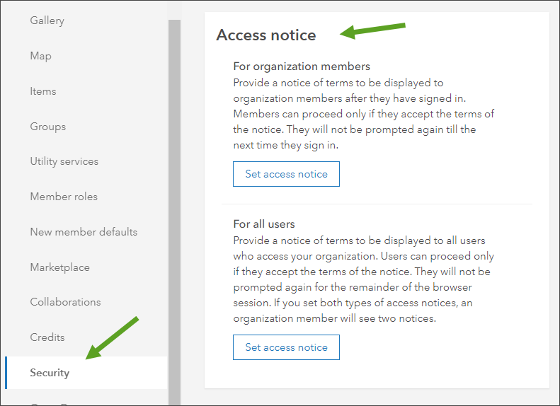 Access notice section