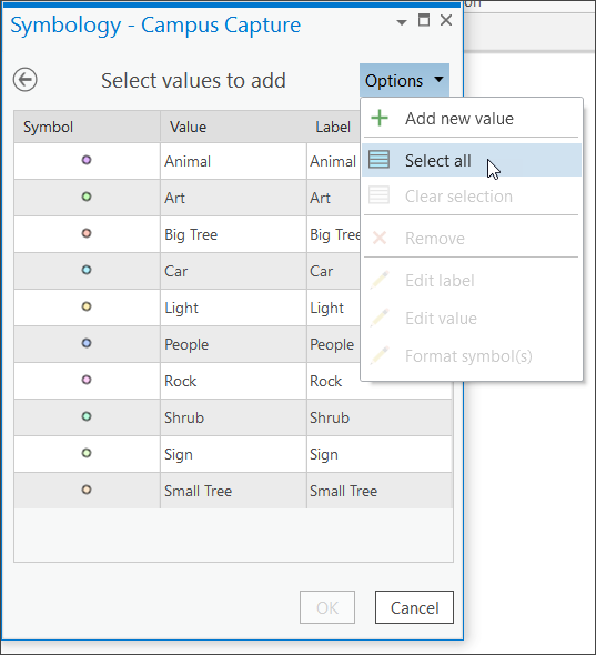 Select all symbols