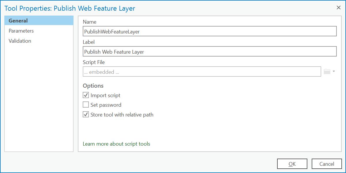 Script tool properties