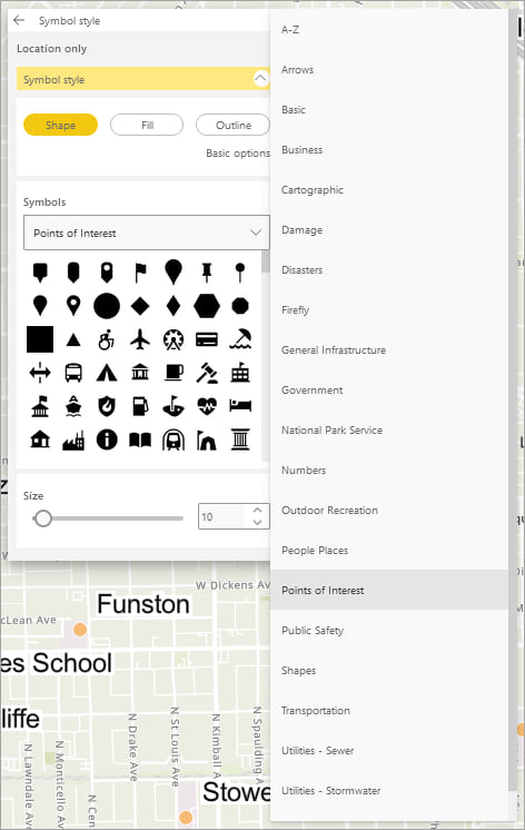 A list of symbol sets available in ArcGIS for Power BI