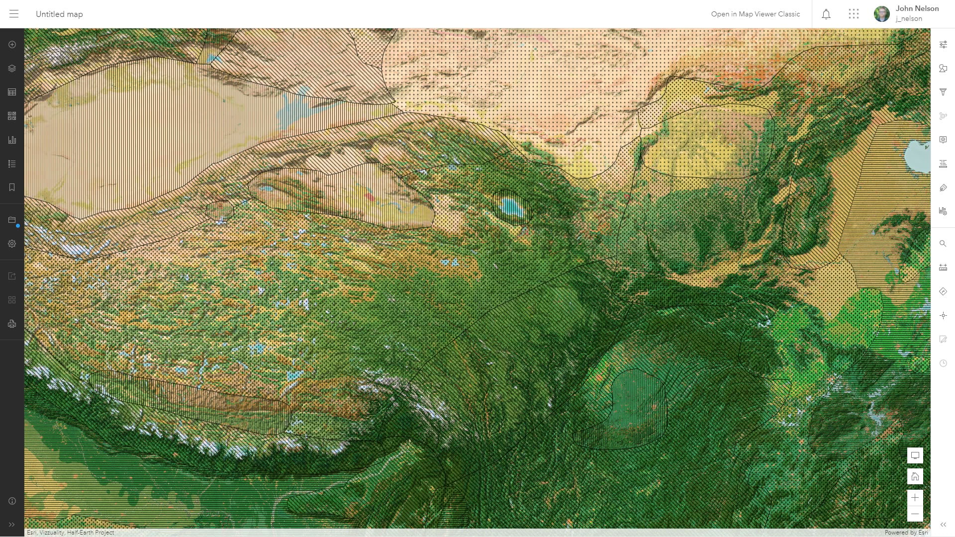 Hatched fills in ArcGIS Online with a Vibrant basemap.