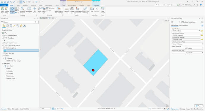 With the Find Meeting Locations geoprocessing tool in ArcGIS Pro Intelligence we are able to narrow down a place of interest for investigation.