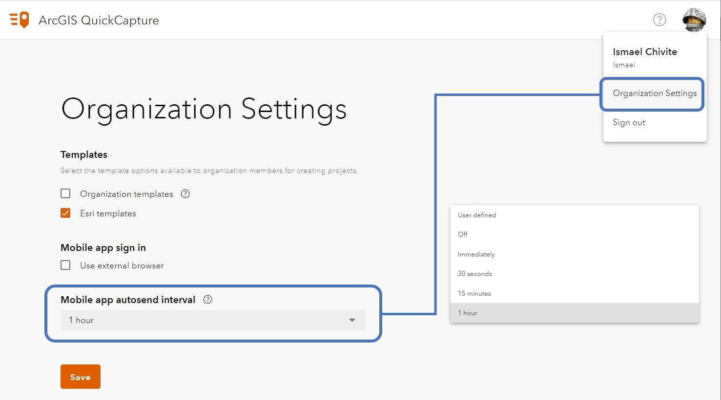 QuickCapture organizational settings dialgo shown