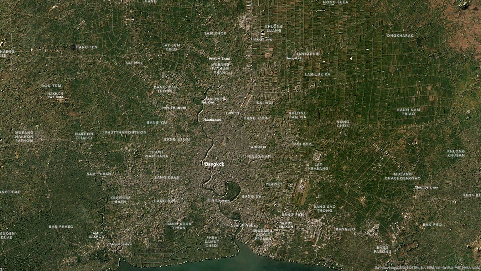 Bangkok with extremely maximized hillshade.