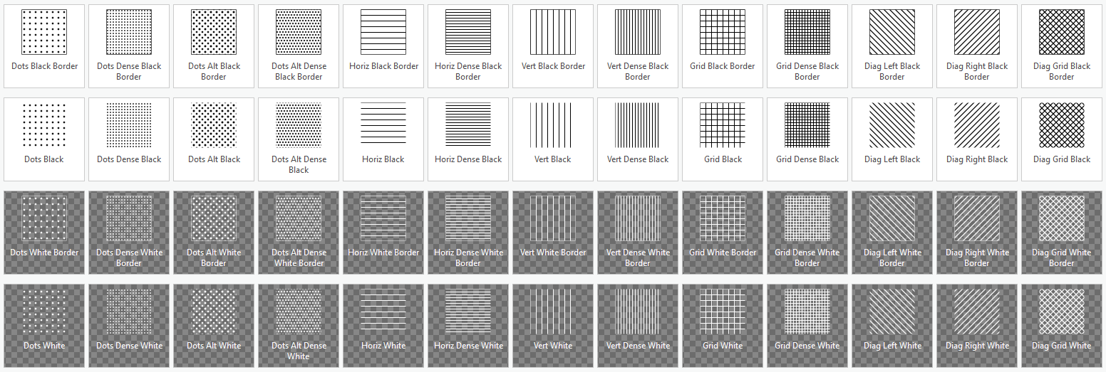 Symbols included in the Hatched Pattern style for ArcGIS Pro.