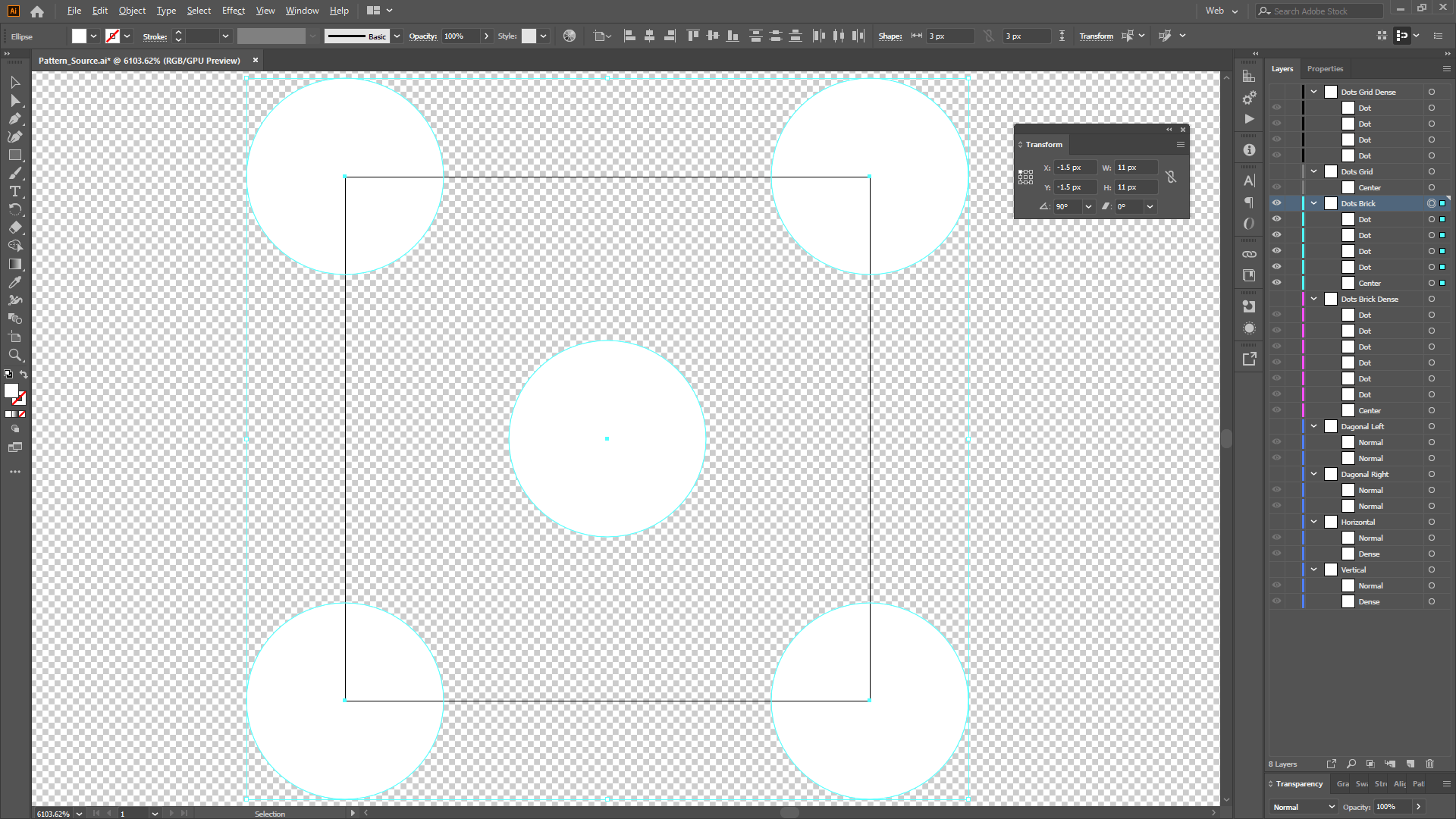 Creating a tiling pattern in Illustrator.