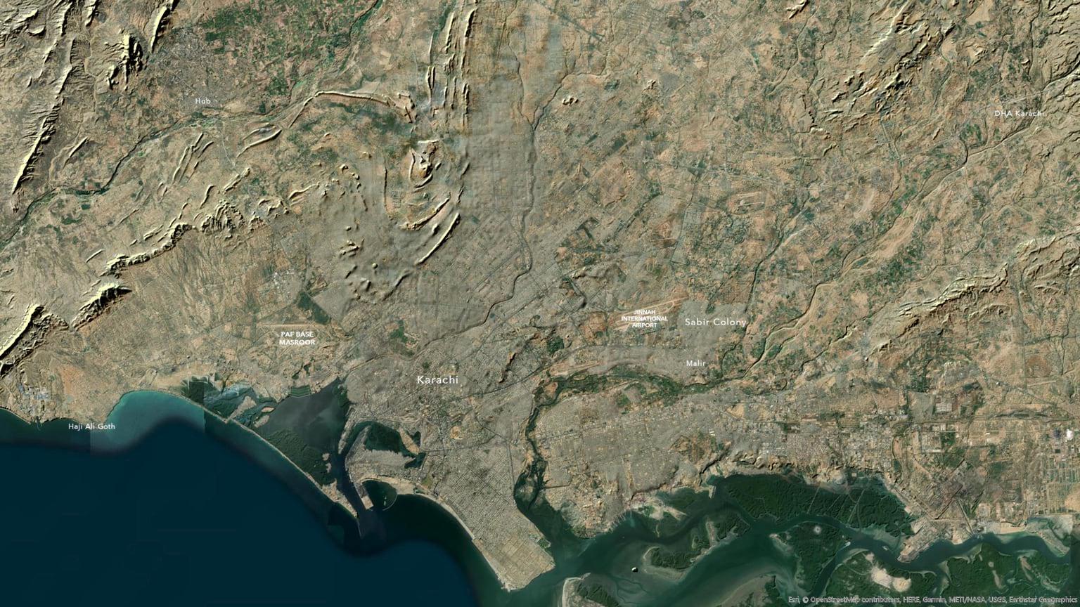 Karachi with forced hillshade.