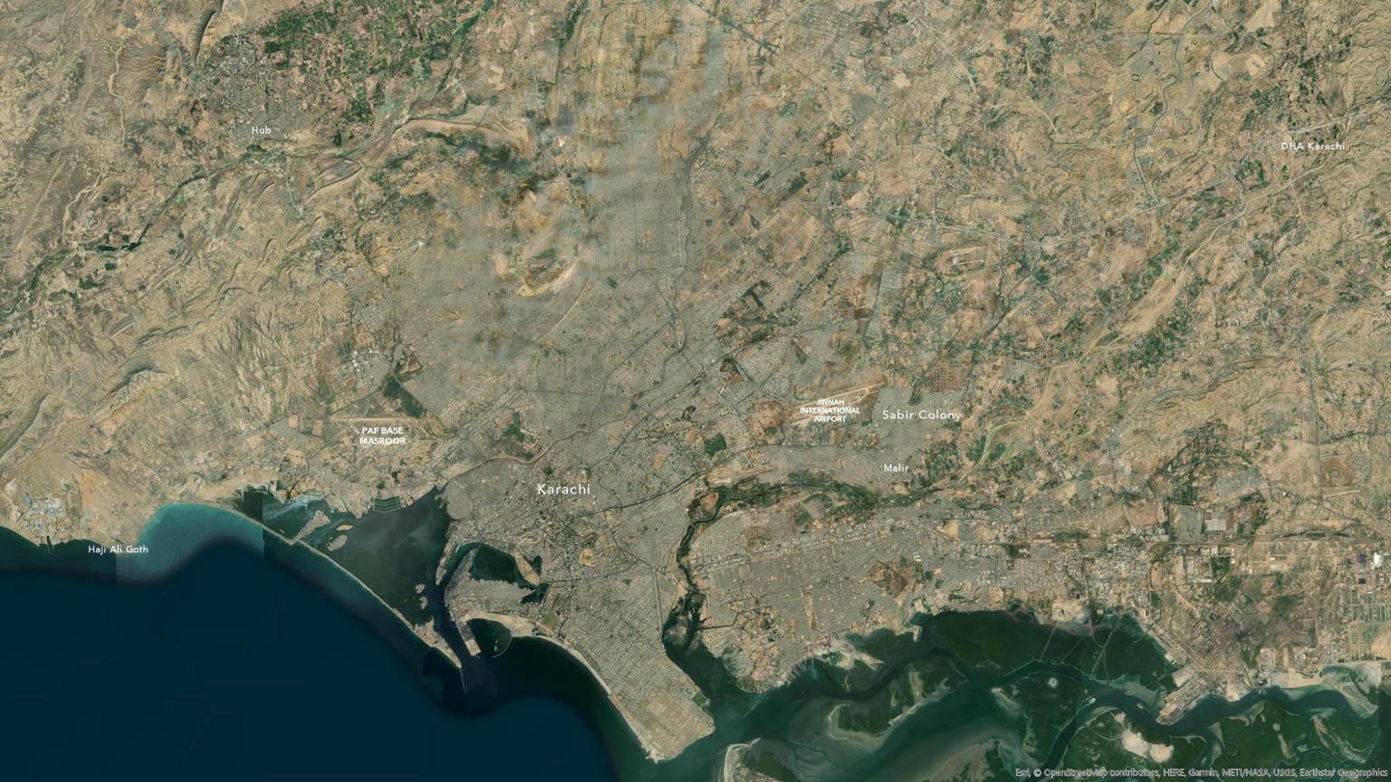 Karachi without forced hillshade.