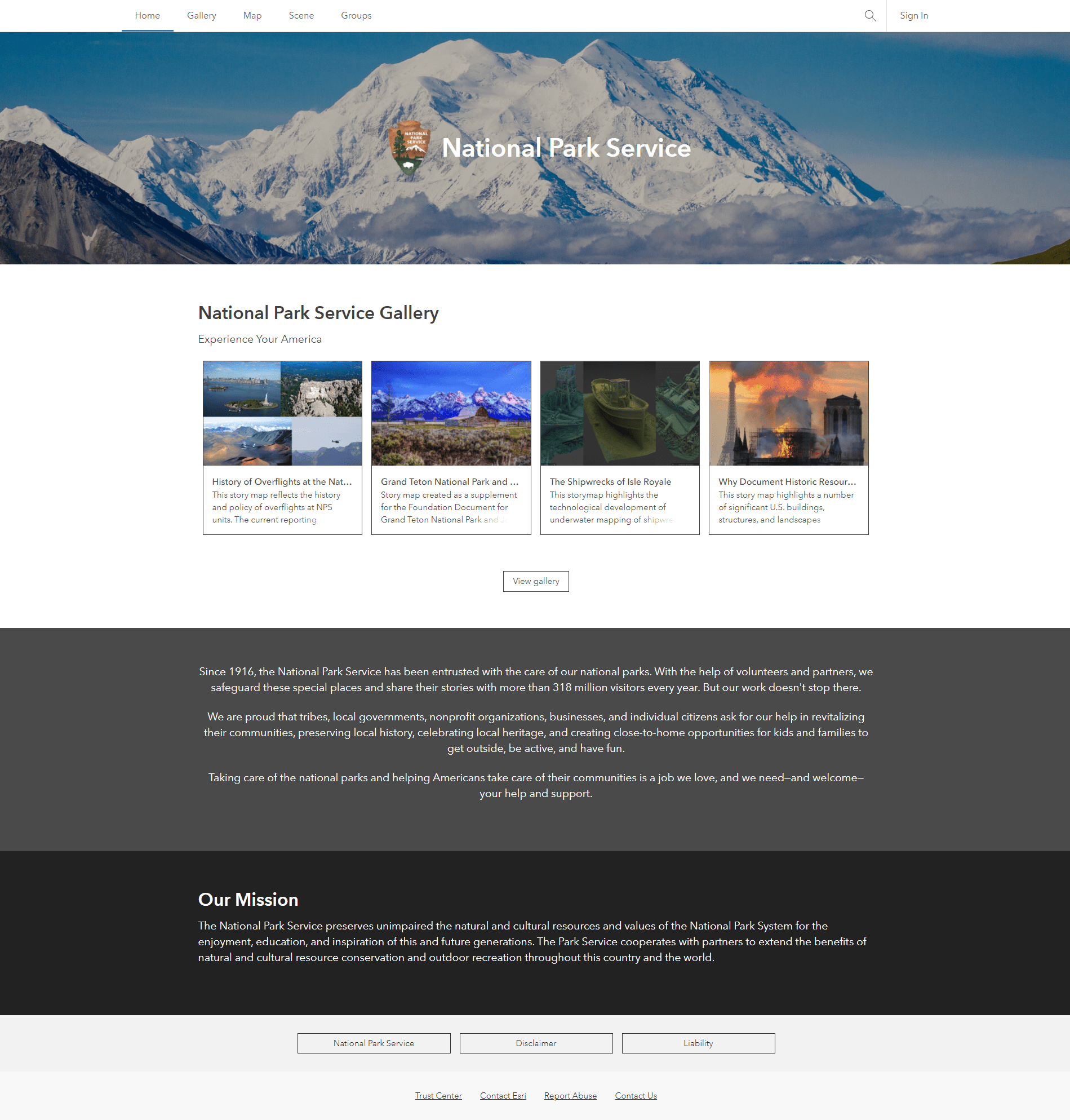 National Parks Service ArcGIS Online Home Page