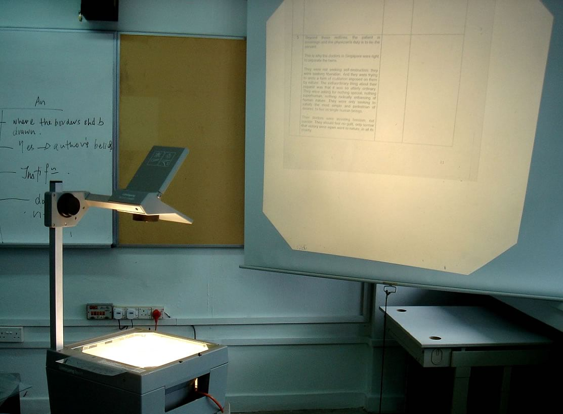 The wondrously analog overhead projector.