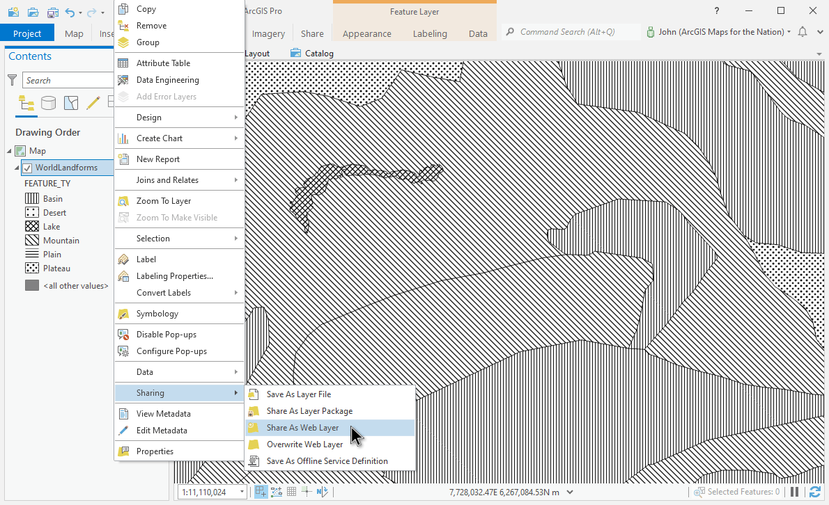 Sharing a layer in Pro to ArcGIS Online.