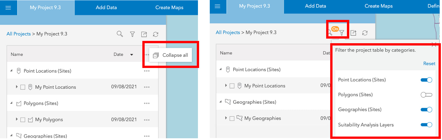 Projects Panel Visibility Options