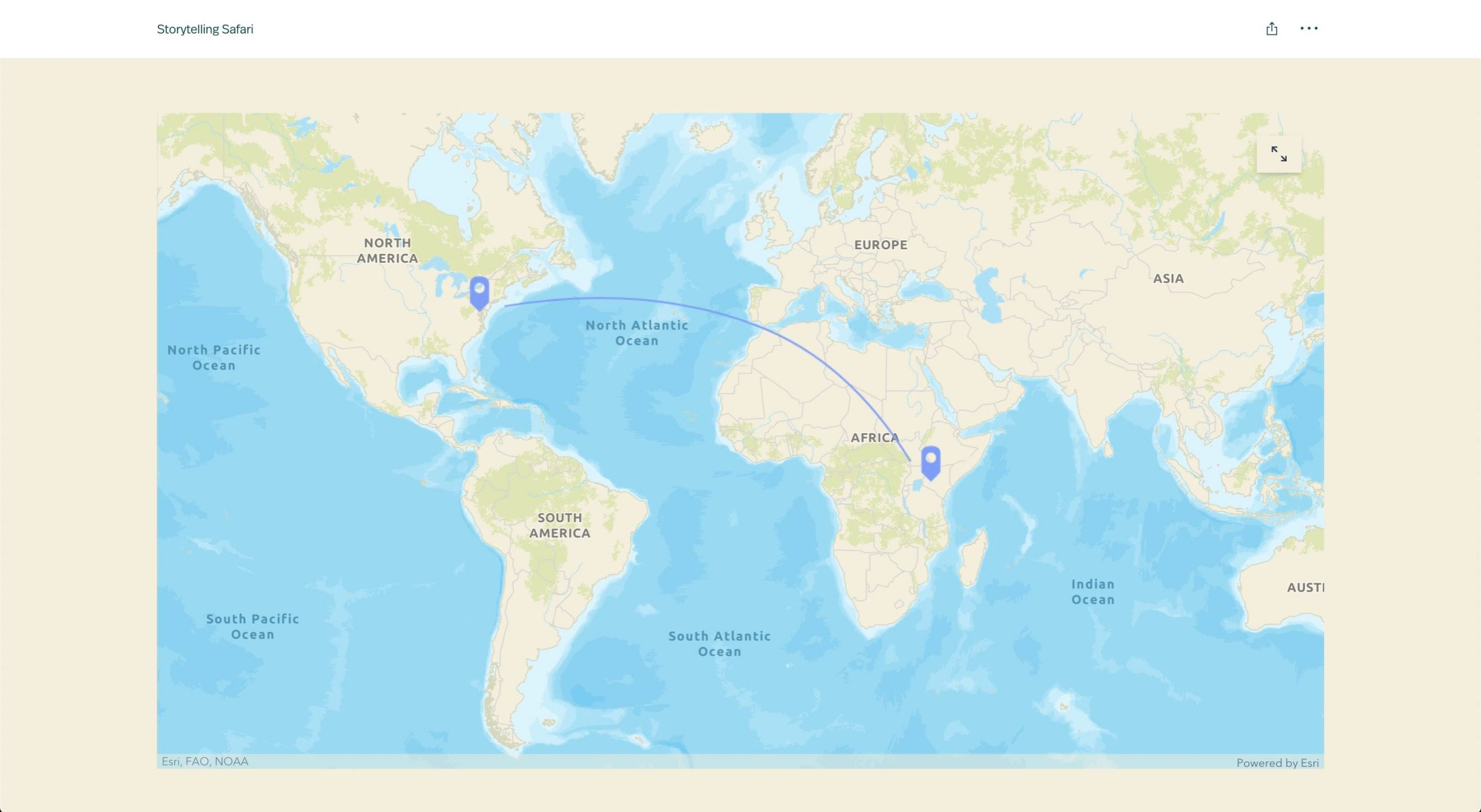 A global locator map with an arrow drawn from DC to Kenya